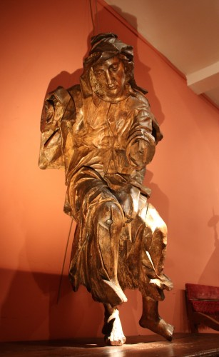 Religious Antiques  - Gothic sculpture depicting a Holy Woman
