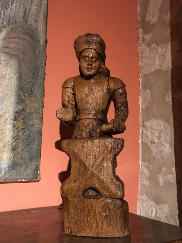 Wood sculpture depicting Saint Eloi as a blacksmith - Sculpture Style Middle age