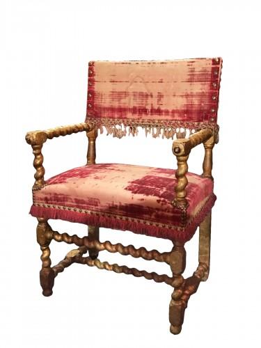 Louis XIII gilt wood armchair