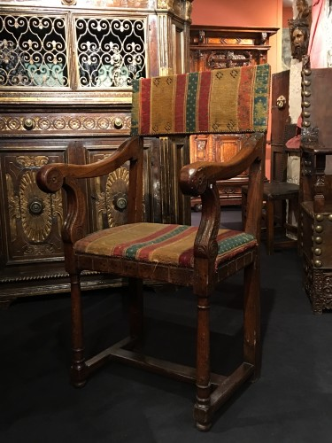 A Henri II Chair with its original seat cover -