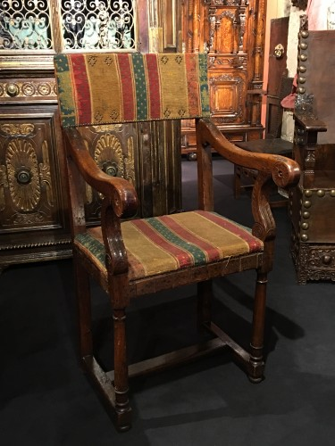 <= 16th century - A Henri II Chair with its original seat cover