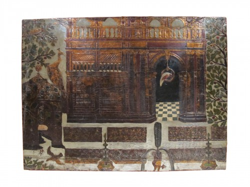 Panel covered with gilt and polychrome flemmish leather