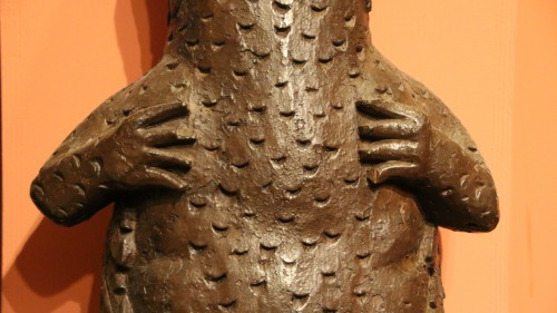 <= 16th century - Element of an outdoor carved woodwork showing a salamander