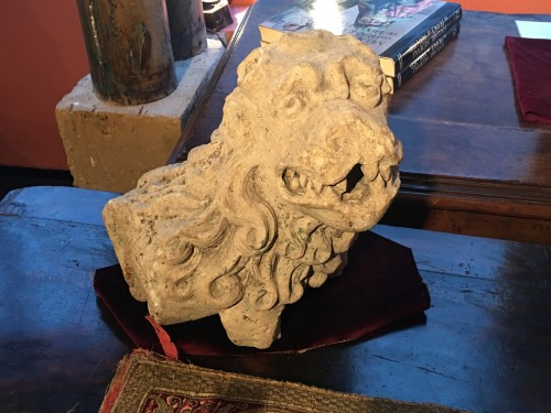 Carved stone lion -