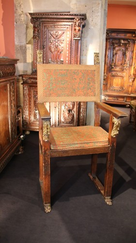 17th century - Large armchair with plumage