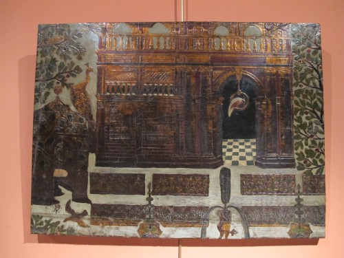 Panel covered with gilt and polychrome flemmish leather - Decorative Objects Style