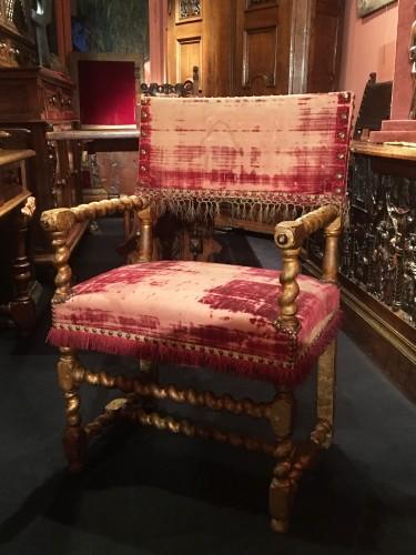 Louis XIII gilt wood armchair -