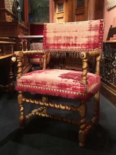Louis XIII - Louis XIII gilt wood armchair