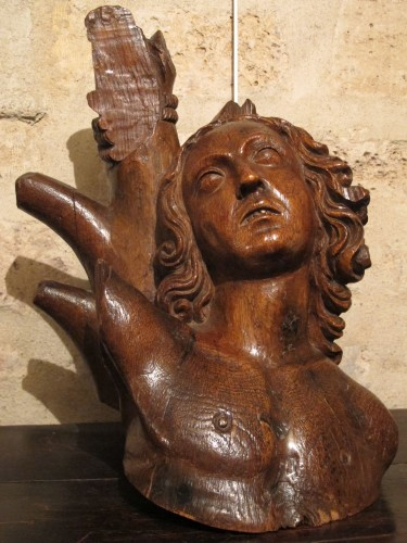 Saint Sebastian head - Sculpture Style Middle age