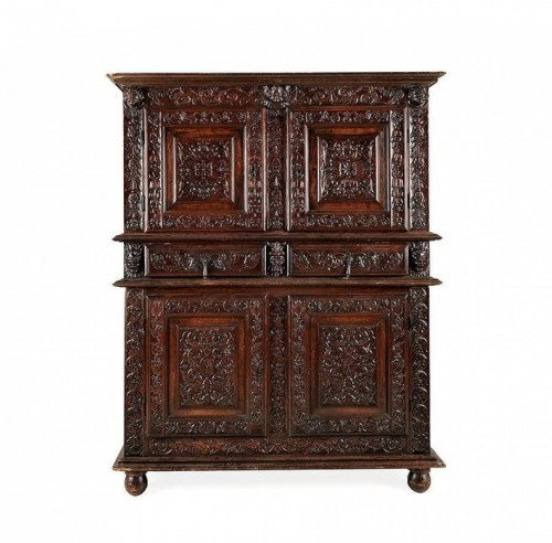 French Second Renaissance red walnut cabinet