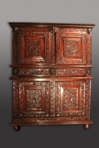 Furniture  - French Second Renaissance red walnut cabinet