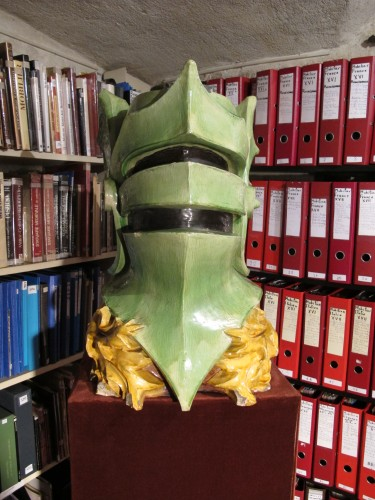 Earthnware great helm once part of a stove - Curiosities Style
