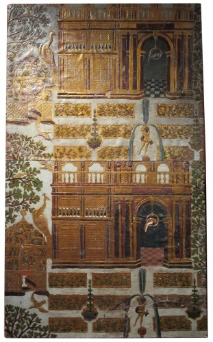 Pair of panels covered with gilt and polychrome flemmish leather