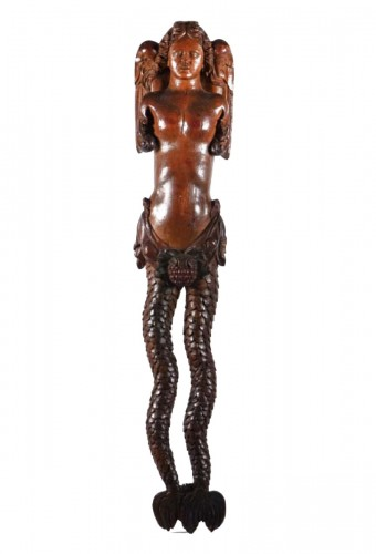 Carved wood bracket depicting a mermaid