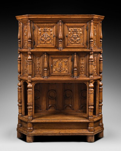 Renaissance Cabinet with a scroll and candelabra decor - Furniture Style