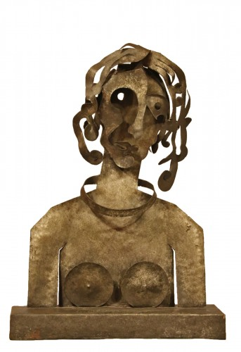 Woman, cutted iron sculpture by Blasco-Ferrer