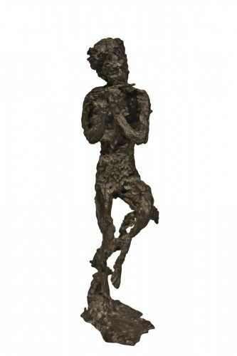 Faun playing the flute or Satyr  - Edmond Moirignot  (1913-2002)