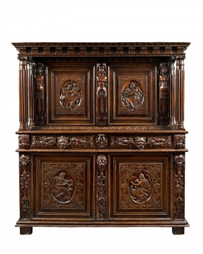 Burgundian Renaissance cabinet depicting the four evangelists