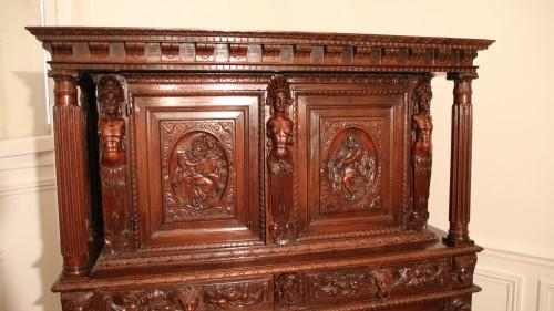 Antiquités - Burgundian Renaissance cabinet depicting the four evangelists