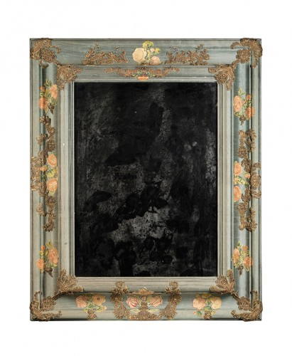 Large mirror covered in blue cloth and 16th century italian embroidery - Mirrors, Trumeau Style