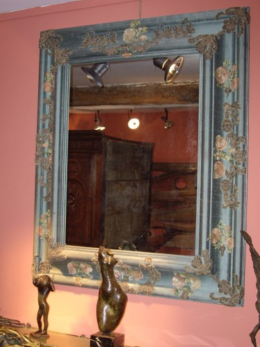 Mirrors, Trumeau  - Large mirror covered in blue cloth and 16th century italian embroidery