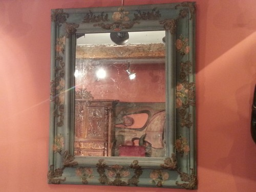 Large mirror covered in blue cloth and 16th century italian embroidery -