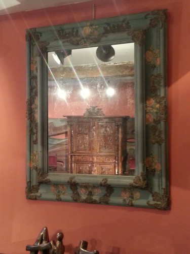 <= 16th century - Large mirror covered in blue cloth and 16th century italian embroidery