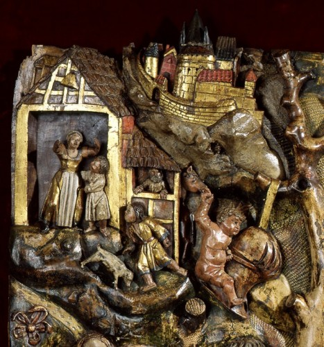 Sculpture  - Exceptional wood low-relief depicting a werewolf and St George