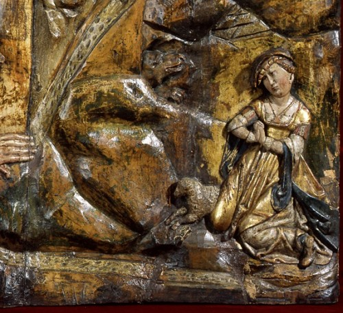 Exceptional wood low-relief depicting a werewolf and St George -