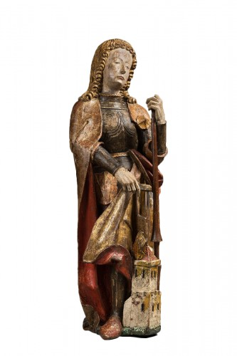 Carved polychrome wood depicting Saint Florian