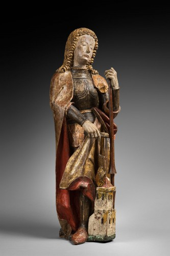 Carved polychrome wood depicting Saint Florian - Sculpture Style Middle age
