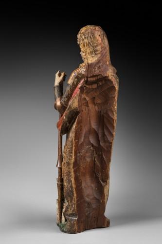 Sculpture  - Carved polychrome wood depicting Saint Florian