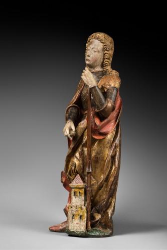 Carved polychrome wood depicting Saint Florian -