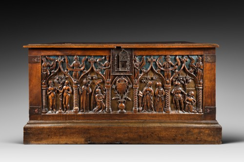 French carved and polychromed walnut chest - Louis XII - Furniture Style Renaissance