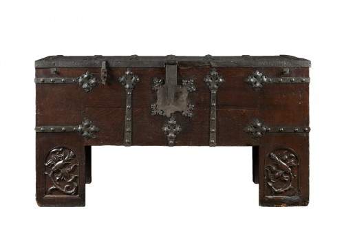 "Oak and iron German Gothic chest known as ""Stollentruhe"""