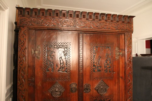 Exceptional German Gothic wardrobe -