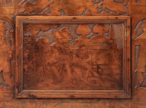 Walnut Renaissance Cassone with chivalrous scenes -