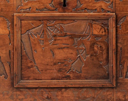 <= 16th century - Walnut Renaissance Cassone with chivalrous scenes