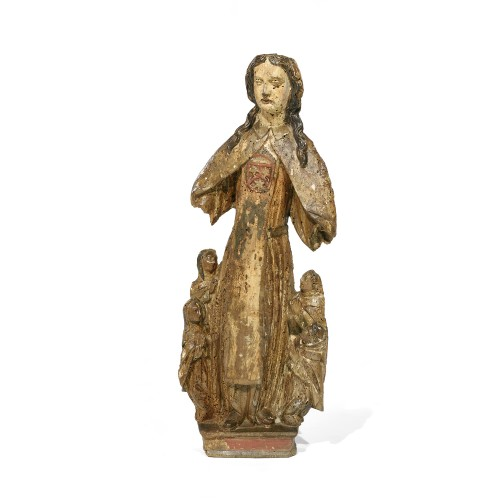 Carved wood sculpture of a Holy Woman accompanied by four clerics - Sculpture Style