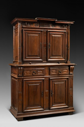 Furniture  - Red walnut Renaissance two-bodies cabinet