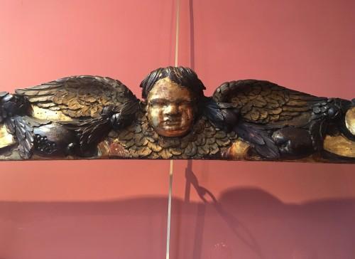Rare partly gilt carved wood frame -