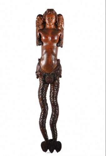 Carved wood bracket depicting a mermaid - Sculpture Style