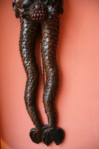 Sculpture  - Carved wood bracket depicting a mermaid