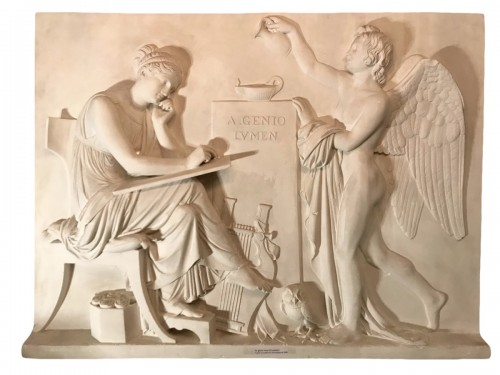 "Large plaster ""A Genio Lumen"" after Thorvaldsen marble"