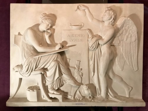 "Large plaster ""A Genio Lumen"" after Thorvaldsen marble - Sculpture Style 50"