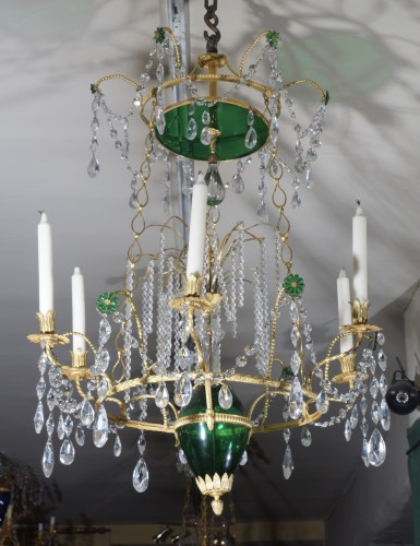 A fate 18th century Russian Chandelier center Crystal Green Esmerald - Lighting Style Directoire