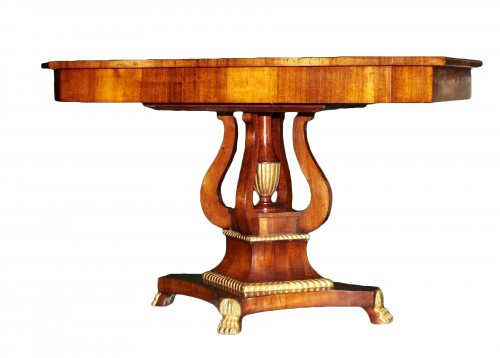 A Russian mahogany and gilt wood Center Table, circa 1830