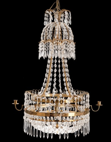 Gustavian Chandelier crystal and bronze - Lighting Style Directoire