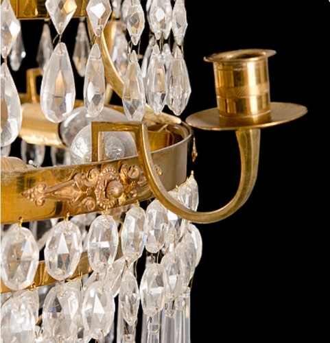 Lighting  - Gustavian Chandelier crystal and bronze