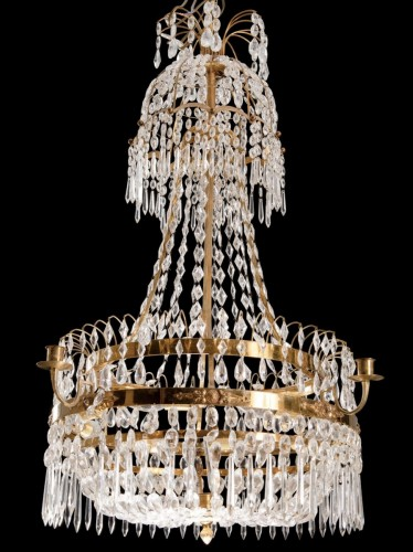 Gustavian Chandelier crystal and bronze -